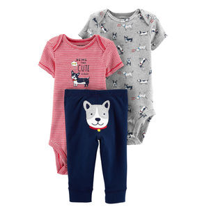 Baby Boy 3-Piece Dog Bodysuit Pant Set Clothes